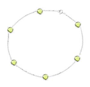 14K White Gold Anklet Bracelet With Peridot Gemstones 9 Inches