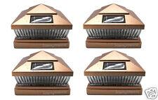 Copper 6X6 PVC Outdoor Garden Solar Post Deck Cap Square Fence Lights 4-Pack