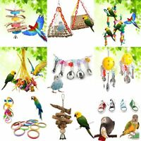 Parrot Pet Bird Chew Cages Hang Toys Supplies Wood Large Rope Cave Ladder 2018