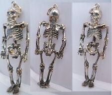 skeleton bone skull memento mori pendant SILVER 925