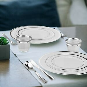 600 Piece Silver Plastic Dinnerware Set - 100 Guests - Plates, Cutlery & Cups