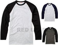 Mens Long Sleeve Baseball T Shirt Holiday Summer Fashion Work NEW COLOURS SS028