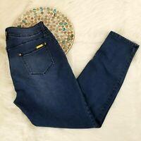 Iman Womens Skinny Jeans Size 14 Dark Blue High Slimming Waist Jegging Stretch