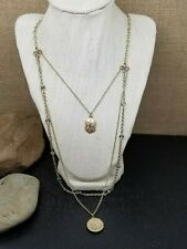"""Matte Gold Tone 3 Chain Clear & Smokey AB Crystal Layered Pendant Necklace 20"""""""