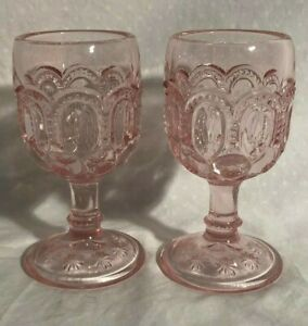 Pink Carnival Glass Stemware Wineglasses Champagne