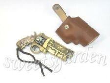 Derringer Revolver Pistol Skull Metal Gun Toy Model Leather Holster Dangle Charm