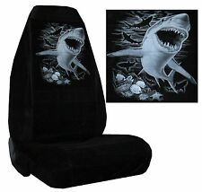 Black Velour Seat Covers Car Truck SUV Great White Shark High Back pp #Z