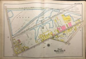 1910 G.W. BROMLEY SOUTH BOSTON MA SOUTH BAY TO DORCHESTER ST ATLAS MAP