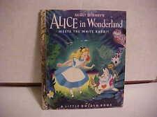 """1951 LITTLE GOLDEN CHILDREN'S BOOK """"A"""" EDITION WALT DISNEY'S ALICE IN WONDERLAND"""