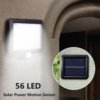 56LED Solar Power PIR Motion Sensor Wall Light Outdoor Waterproof Garden Lamp RF