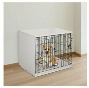 "^  35"" MDF Pet Dog Cage Base Metal Wire 2-Door Small Indoor White 22!21"