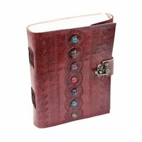Leather Journal Book Medieval 7 Stones Embossed Handmade Book Shadows Notebook