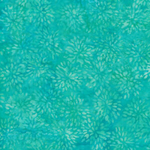Island Batik Basic BE36-D1 Floral in Turquoise *Free Domestic Shipping*
