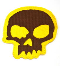 DEATH SKULL YELLOW  EMBROIDERED APPLIQUE BADGE MORALE PATCH SEW IRON ON