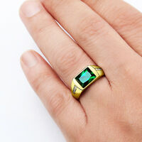 MENS SOLID 10K GOLD EMERALD RING 0.08ctw Natural Diamonds Fine Ring for Man