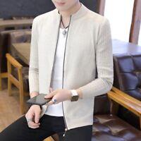 Men's Cardigan Sweater Jacket Long Sleeve Casual Slim Fit Knitted Outwear Zipper