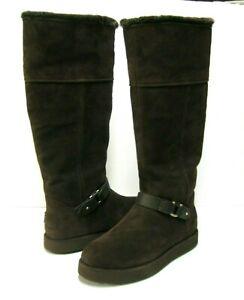 UGG CLASSIC BERGE WOMEN TALL BOOTS SUEDE DARK ROAST US 9.5 /UK 7.5 /EU 40.5