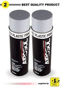 2 X Plastic Primer Paint 500ML Aerosol Spray Grey paint BUMPER TRIM free