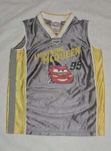 VGUC Disney Store Boys Cars LIGHTNING MCQUEEN Basketball Jersey Top Sz S 5/6