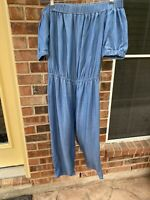 "Michael Kors Womens Blue Jumpsuit Medium Off The Shoulder 21"" Inseam"