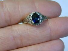 BLUE SAPPHIRE RING SIZE 6.5 ANTIQUE 925 STERLING SILVER DECO 1CT USA MADE