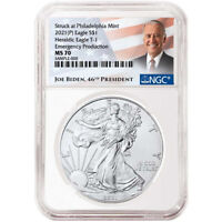 2021 (P) $1 American Silver Eagle NGC MS70 Emergency Production Biden Label