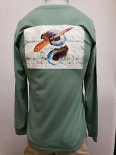 "New Coastal Cotton ""Shuck 'em""  Long Sleeve T-Shirt, Green, S, M"