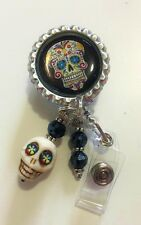 """SUGAR SKULL"" ID REEL BADGE WITH HOWLITE SKULL AND BEADS"