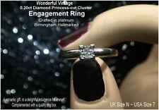 Platinum Engagement Cluster Natural Fine Rings