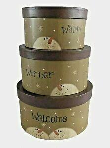 Primitive Christmas Warm Winter Nesting Boxes Snowman SET/3
