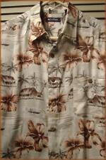 "PURITAN Men's 100% Rayon Hawaiian Shirt (L) Floral & Island Huts print 50"" chest"