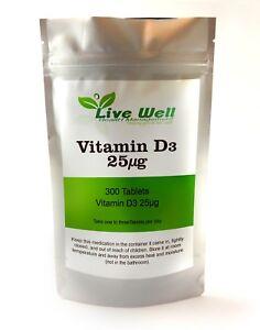 Vivants Bien Vitamine D3 25 Ug Cholécalciférol Tablettes OS Support Supplément
