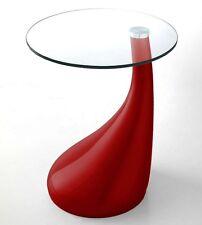 Tavolino in vetro Pop rosso per soggiorno pranzo ufficio o studio gambe resina