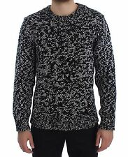 NEW $1900 DOLCE & GABBANA Sweater Cashmere Black White Knitted Crewneck IT48 / M