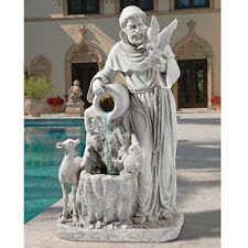 """St. Francis Life Giving Waters 39"""" Resin Antique Stone Finish Garden Fountain"""