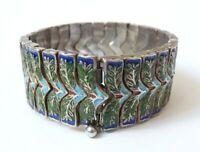 Ancien Bracelet ethnique argent massif 900 et émail silver enamel colonial