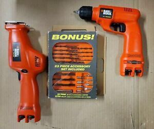 Black & Decker Hand Drill 7.2V & Reciprocating Jig Saw w/ Hard Case w/ bonus NEW