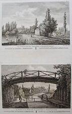 PAVILLON DE VALLIERE PONT ET MOULIN MORFONTAINE .LABORDE JARDINS DE FRANCE 1808.