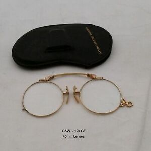G&W  Pince Nez  12k Gold Fill Eyeglasses and Case