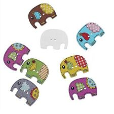 Trendy Colorful Wood Sewing Button Scrapbooking Elephant Shaped Crafts 2Holes