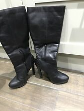 Black Schuh Leather Knee Boots Size 6 / 39