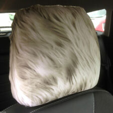 White Monster Fur Design Car Seat Head Rest Covers Pack Of Two Accessory Gift