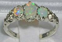 Ladies Solid White 14K Gold Natural Fiery Opal English Victorian Trilogy Ring