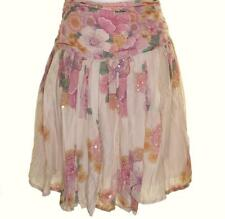 New Women's French Connection Pleated Sequin Beaded Skirt Rose Floral RRP£75