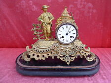 bella, vecchio orologio da camino__pendule__metallo__con Base legno