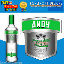 Personalised Vodka Apple bottle label, Perfect Birthday/Wedding/Graduation Gift