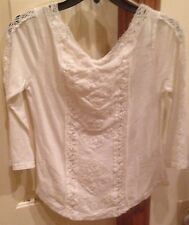 Free People truely madly shirt top NWT XS ivory white lace crochet $78