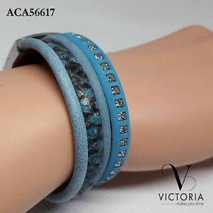 Victoria Genuine Fashion Women Bangle Bracelet Crystal Beaded Leather Lady
