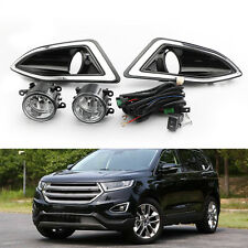 Front Bumper Bezel Fog Lights Lamps w/Harness Switch Kit For Ford Edge 15-2018