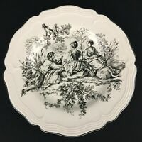 Dinner Plate by Tabletops Unlimited New England Toile Picnic Black and White